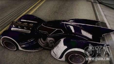Batman Arkham Asylum Batmobile für GTA San Andreas zurück linke Ansicht