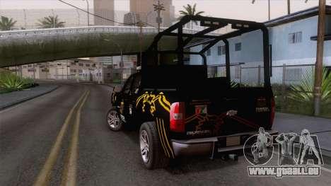 Chevrolet Silverado de la Fuerza Coahuila pour GTA San Andreas laissé vue