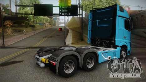 Mercedes-Benz Actros Mp4 6x4 v2.0 Gigaspace v2 pour GTA San Andreas laissé vue
