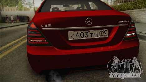 Mercedes-Benz W221 S65 Stance v2 pour GTA San Andreas vue de droite