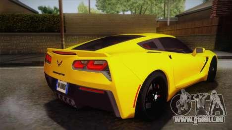 Chevrolet Corvette Stingray 2015 pour GTA San Andreas laissé vue