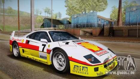 Ferrari F40 (US-Spec) 1989 HQLM pour GTA San Andreas vue arrière