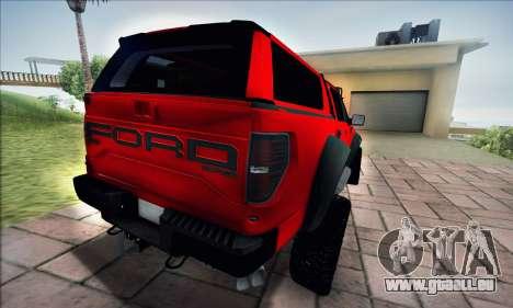 Ford F150 Raptor Long V12 pour GTA San Andreas sur la vue arrière gauche