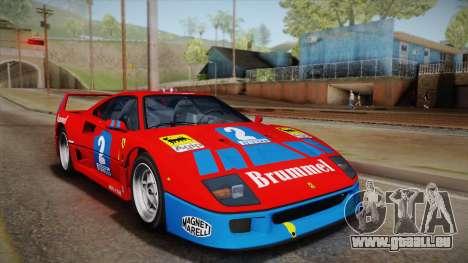 Ferrari F40 (US-Spec) 1989 HQLM pour GTA San Andreas vue intérieure