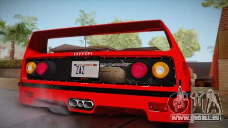 Ferrari F40 (US-Spec) 1989 HQLM für GTA San Andreas zurück linke Ansicht
