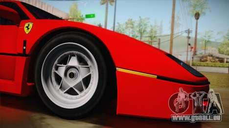 Ferrari F40 (US-Spec) 1989 HQLM pour GTA San Andreas laissé vue