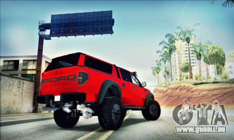 Ford F150 Raptor Long V12 für GTA San Andreas Rückansicht