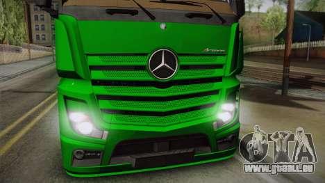 Mercedes-Benz Actros Mp4 4x2 v2.0 Gigaspace pour GTA San Andreas sur la vue arrière gauche