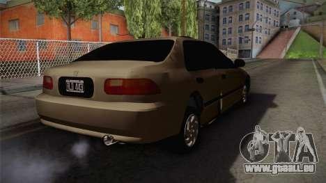 Honda Civic Sedan EX 1993 pour GTA San Andreas sur la vue arrière gauche