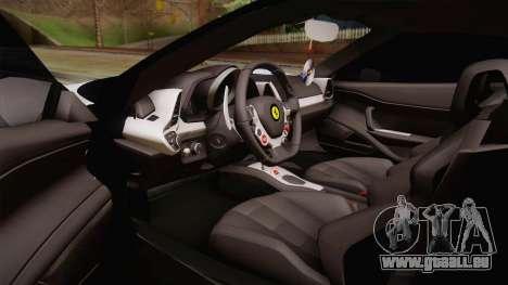 Ferrari 458 Italia für GTA San Andreas Innenansicht