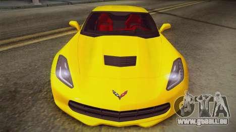 Chevrolet Corvette Stingray 2015 pour GTA San Andreas sur la vue arrière gauche