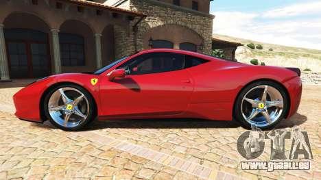 GTA 5 Ferrari 458 Italia v2.0 [add-on] linke Seitenansicht
