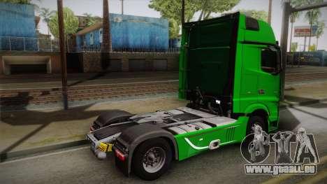 Mercedes-Benz Actros Mp4 4x2 v2.0 Gigaspace pour GTA San Andreas laissé vue