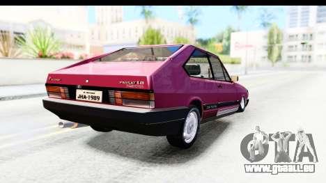 Volkswagen Passat Pointer GTS 1.8 1988 für GTA San Andreas zurück linke Ansicht