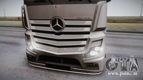 Mercedes-Benz Actros Mp4 6x2 v2.0 Steamspace pour GTA San Andreas sur la vue arrière gauche