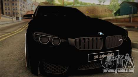 BMW M3 F30 pour GTA San Andreas sur la vue arrière gauche