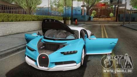 Bugatti Chiron 2017 v2.0 Korean Plate für GTA San Andreas obere Ansicht