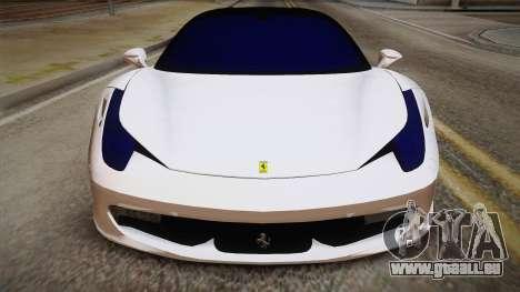 Ferrari 458 Italia für GTA San Andreas rechten Ansicht