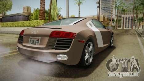 Audi R8 Coupe 4.2 FSI quattro US-Spec v1.0.0 v4 für GTA San Andreas rechten Ansicht