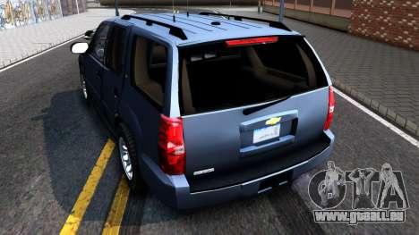 Chevy Tahoe Metro Police Unmarked 2012 pour GTA San Andreas sur la vue arrière gauche