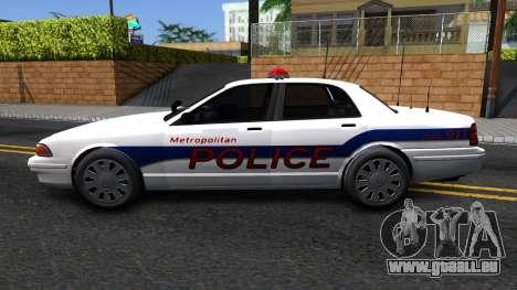 Vapid Stanier Metropolitan Police 2009 pour GTA San Andreas laissé vue