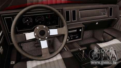 Buick GNX 1987 pour GTA San Andreas vue intérieure
