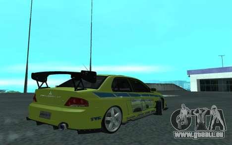 Mitsubishi Lancer Evolution VII für GTA San Andreas rechten Ansicht