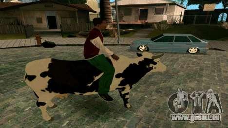 À cheval sur la vache pour GTA San Andreas troisième écran