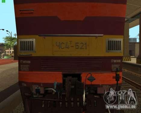 Passenger locomotive CHS4t-521 pour GTA San Andreas vue intérieure