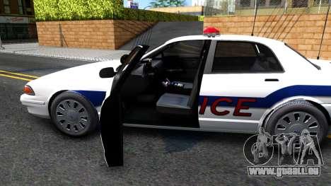 Vapid Stanier Metropolitan Police 2009 pour GTA San Andreas vue intérieure