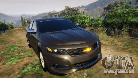 GTA 5 Chevrolet Impala 2015 arrière droit vue de côté
