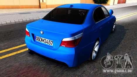 BMW E60 520D M Technique für GTA San Andreas zurück linke Ansicht