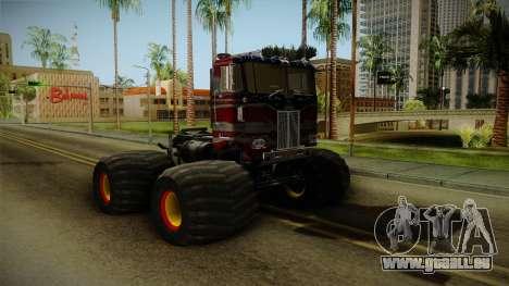 Peterbilt Monster Truck pour GTA San Andreas sur la vue arrière gauche