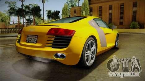 Audi R8 Coupe 4.2 FSI quattro EU-Spec 2008 Dirt pour GTA San Andreas laissé vue