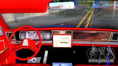 Chevrolet Caprice 1987 Tuning pour GTA San Andreas vue intérieure