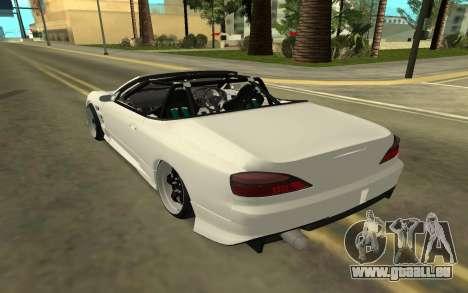 Nissan Silvia s15 Kabrio pour GTA San Andreas sur la vue arrière gauche