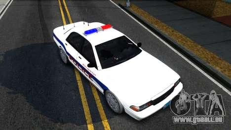 Vapid Stanier Metropolitan Police 2009 pour GTA San Andreas vue arrière