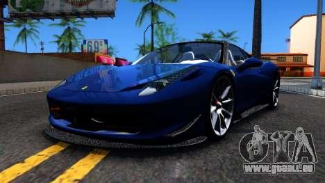 Ferrari 458 Italia Tune für GTA San Andreas linke Ansicht