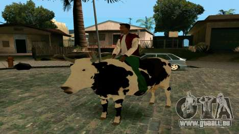 À cheval sur la vache pour GTA San Andreas