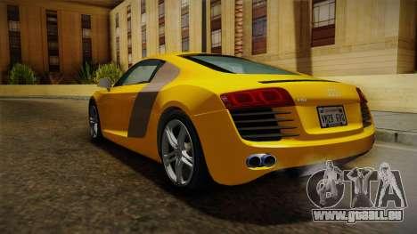 Audi R8 Coupe 4.2 FSI quattro EU-Spec 2008 Dirt pour GTA San Andreas vue de droite