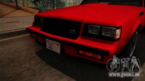 Buick GNX 1987 pour GTA San Andreas vue de côté