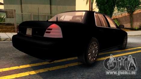Ford Crown Victoria Detective 2008 pour GTA San Andreas sur la vue arrière gauche