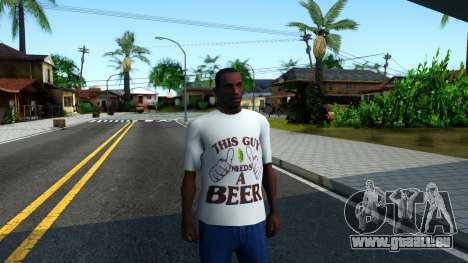 White Beer T-Shirt für GTA San Andreas zweiten Screenshot