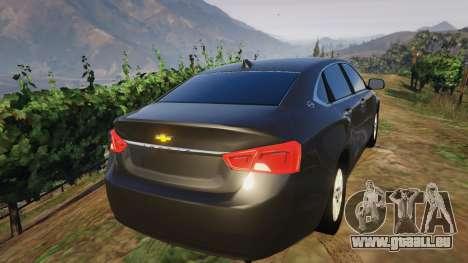 GTA 5 Chevrolet Impala 2015 arrière vue latérale gauche