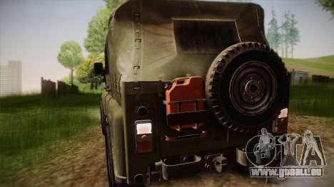 УАЗ-3151 CoD4 MW Remastered pour GTA San Andreas vue arrière