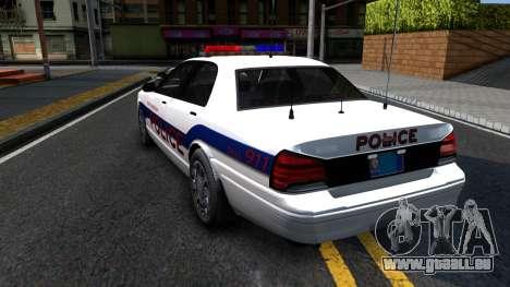 Vapid Stanier Metropolitan Police 2009 für GTA San Andreas zurück linke Ansicht