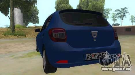 2016 Dacia Sandero pour GTA San Andreas sur la vue arrière gauche