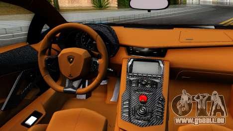 Lamborghini Aventador LP700-4 Light Tune pour GTA San Andreas vue intérieure