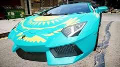 Lamborghini Aventador avec un drapeau de la répu