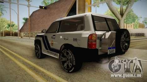 Nissan Patrol Y61 Police für GTA San Andreas zurück linke Ansicht